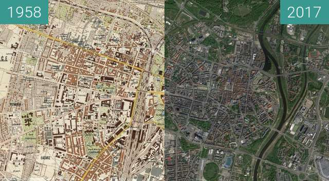 Before-and-after picture of Poznań 1958 - Centrum, Jeżyce, Łazarz between 1958 and 2017-May-12