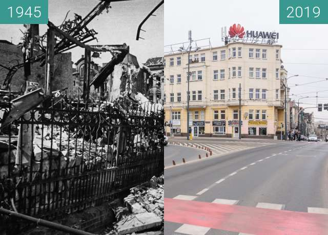 Before-and-after picture of Ulica Roosevelta between 1945 and 2019-Mar-07