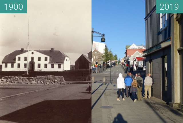 Before-and-after picture of Reykjavík, Governor's House between 1900 and 2019-May-28