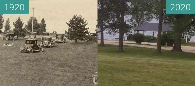 Before-and-after picture of The City Park; Belfast, Maine between 1920 and 2020-Jul-22