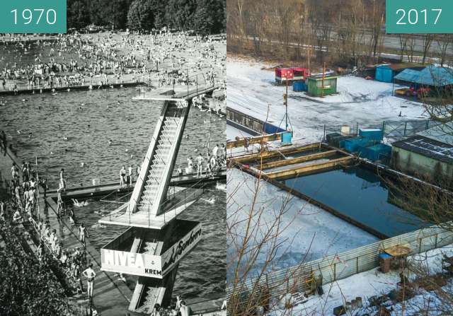 Before-and-after picture of Swimming pools, Niestachowska Street between 1970-Jan-21 and 2017-Jan-21