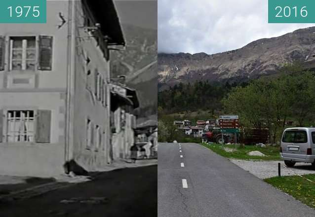 Before-and-after picture of V Breginju pri cerkvi pred potresom 1976 in danes between 1975 and 2016