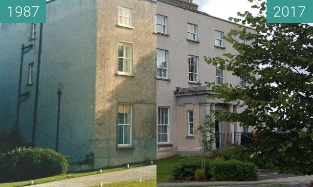 Before-and-after picture of Kilnacourt House between 1987 and 2017-Sep-12