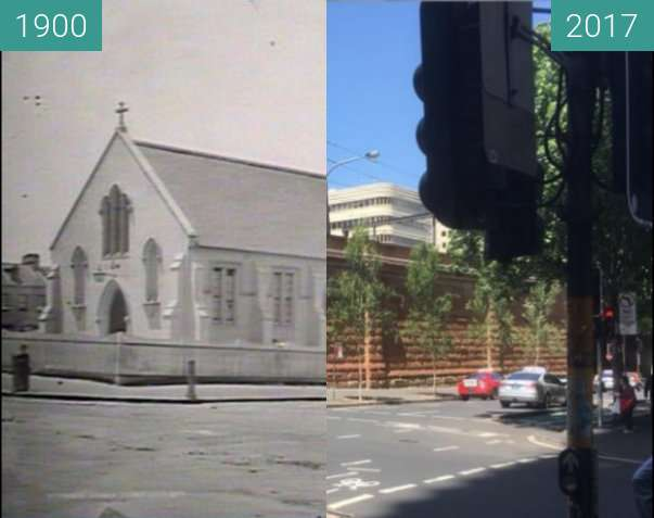 Before-and-after picture of Campbell and Castlereagh Streets, Sydney between 1900 and 2017