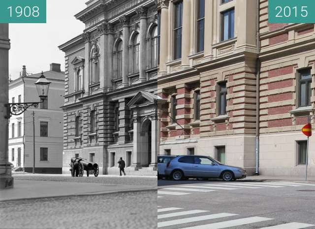 Before-and-after picture of Hallituskatu, Helsinki, Finland between 1908 and 2015-May-03