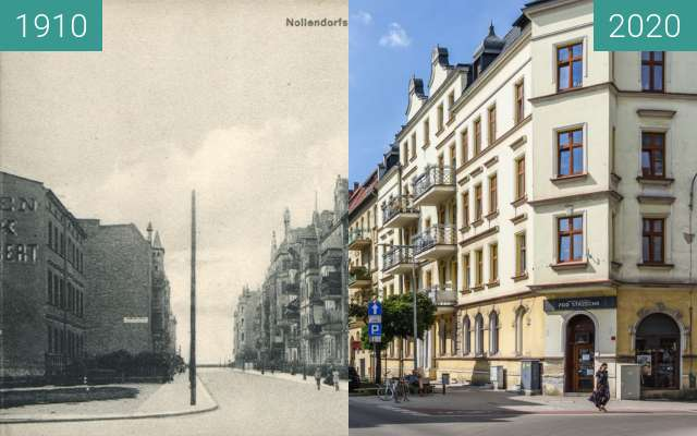 Before-and-after picture of Ulica Jackowskiego between 1910 and 2020