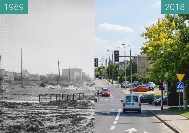 Before-and-after picture of Ulica Zagonowa between 1969 and 2018