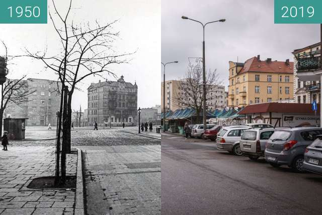 Before-and-after picture of Rynek Łazarski between 1950 and 2019