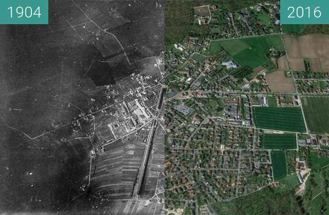 Before-and-after picture of Bad Rothenfelde aus einem Ballon between 1904 and 04/2016