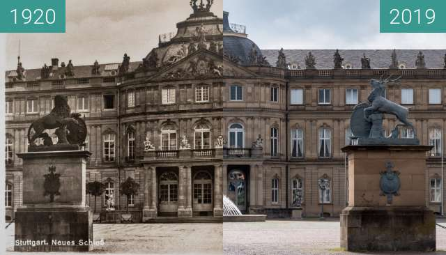 Before-and-after picture of Stuttgart - Neues Schloss between 1920 and 2019-Jun-23