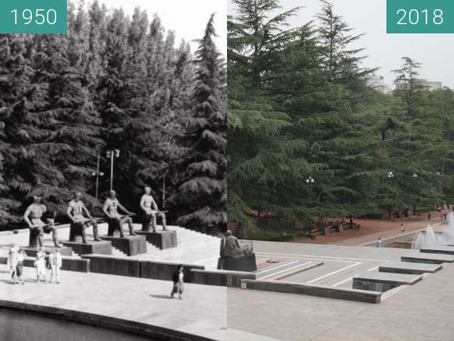 Before-and-after picture of Tomb of the Unknown Soldier in Vake Park between 1950 and 2018-Sep-10