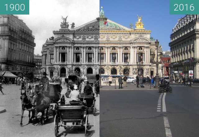 Before-and-after picture of Opéra Garnier between 1900 and 2016-Feb-29
