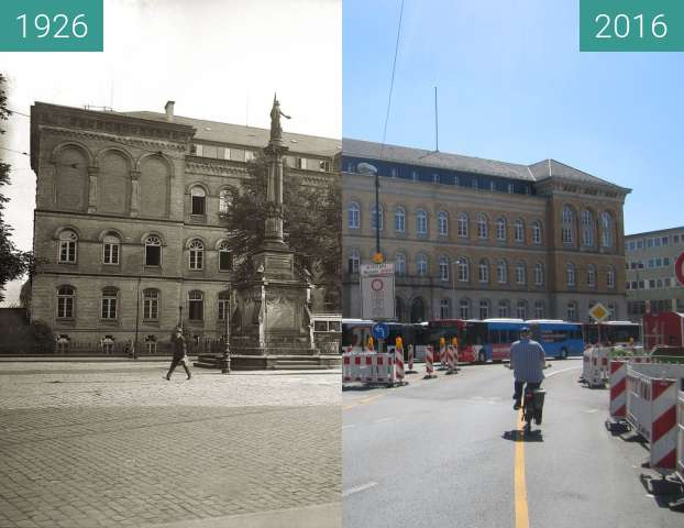 Before-and-after picture of Law Court Osnabrück between 1926 and 2016-Jul-18