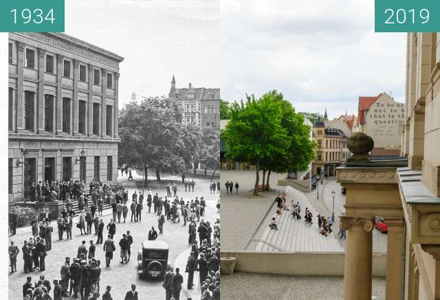 Before-and-after picture of Uniplatz between 1934 and 2019-Jul-02