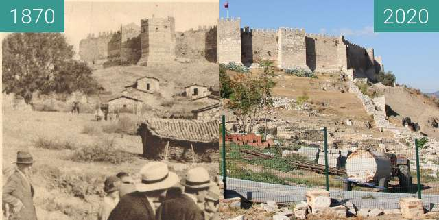 Before-and-after picture of Selçuk Fortress between 1870 and 2020-Oct-11