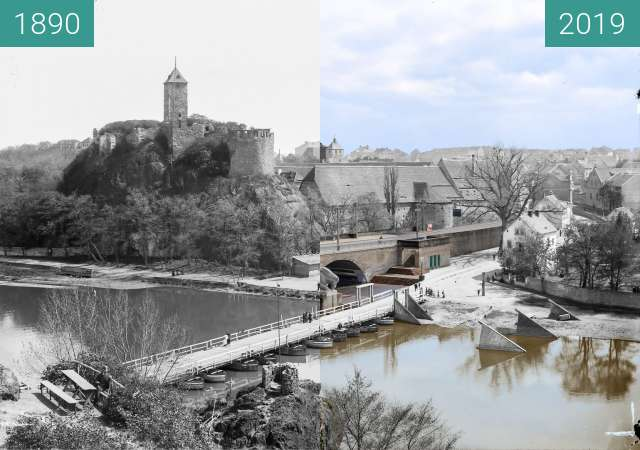 Before-and-after picture of Burg Giebichenstein between 1890 and 2019