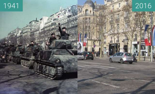Before-and-after picture of Champs-Elysées (Occupation of Paris) between 1941 and 2016-Mar-13