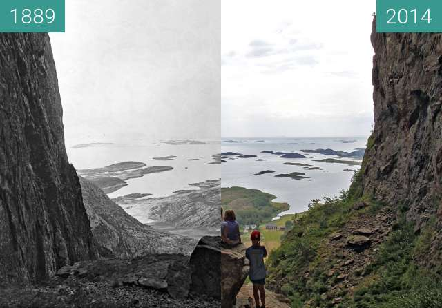 Before-and-after picture of Torghatten between 1889 and 2014