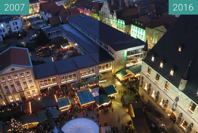 Before-and-after picture of Blick vom Marienturm auf den Weihnachtsmarkt between 2007-Dec-16 and 2016-Dec-03