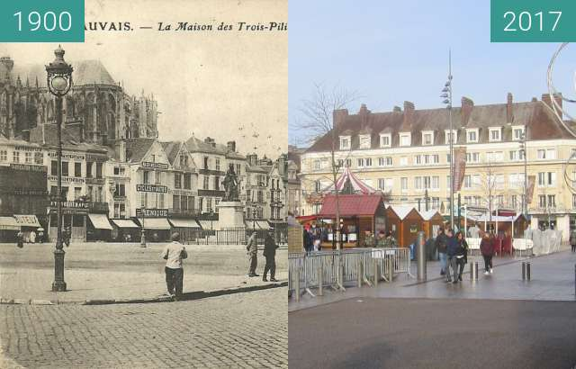 Before-and-after picture of Place Jeanne Hachette between 1900 and 2017-Dec-17