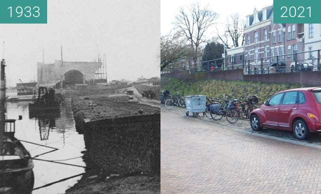 Before-and-after picture of Waalkade 1933 building bridge between 1933 and 2021-Jan-09