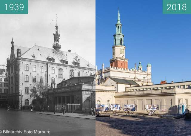 Before-and-after picture of Stary Rynek, Odwach between 1939 and 2018