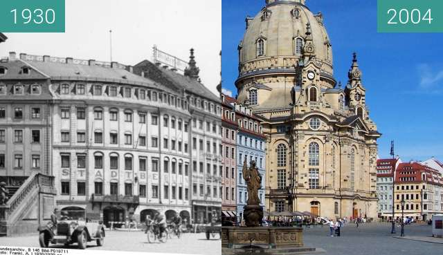 Before-and-after picture of Neumarkt in Dresden mit Frauenkirche between 1930 and 2004-Feb-22