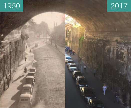 Before-and-after picture of The Argyle Cut between 1950 and 2017