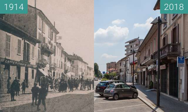 Before-and-after picture of Piazza Roma, Mariano Comense between 1914 and 2018-Jun-02