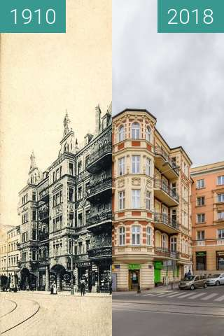 Before-and-after picture of Plac Cyryla Ratajskiego between 1910-Jun-30 and 2018