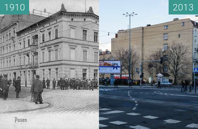 Before-and-after picture of Ulice 27 Grudnia/Ratajczaka between 1910-Dec-23 and 2013-Dec-23