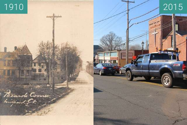 Before-and-after picture of Devon Center between 1910 and 2015-Dec-05