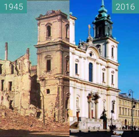 Before-and-after picture of Bazylika Świętego Krzyża between 1944 and 2016