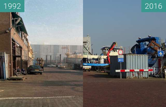 Before-and-after picture of Harbour and shipyard, Urk probably early nineties between 1992 and 2016-Sep-08