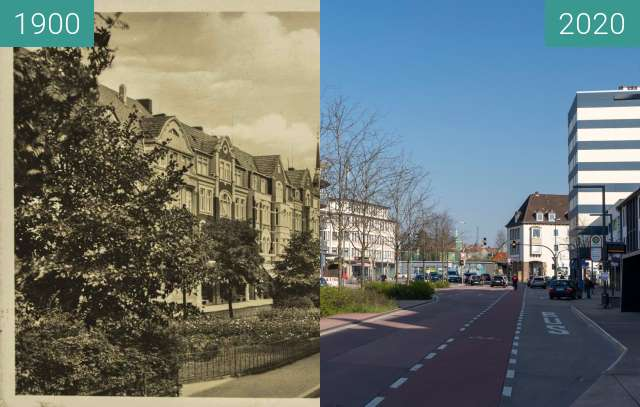 Before-and-after picture of Rosenplatz between 1900 and 03/2020