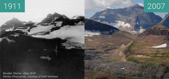 Before-and-after picture of Boulder Glacier between 1911 and 2007-Aug-24