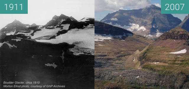 Vorher-Nachher-Bild von Boulder Glacier zwischen 1911 und 24.08.2007