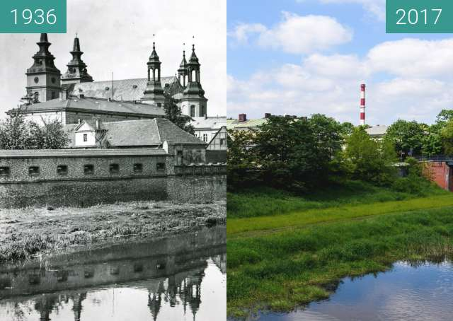 Before-and-after picture of Ostrów Tumski between 1936 and 2017