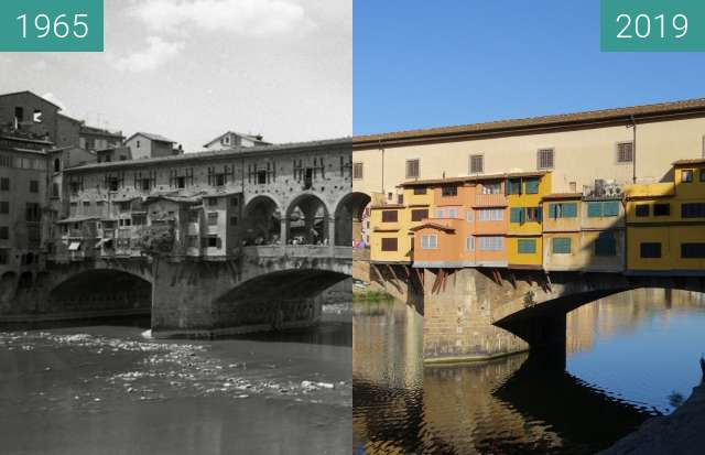 Before-and-after picture of Ponte Vecchio between 1965 and 2019-Jun-23