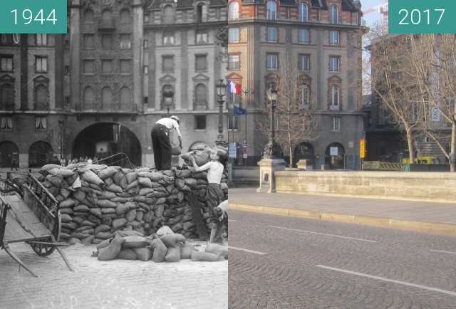Before-and-after picture of Pont Neuf/Quai de Conti (Liberation of Paris) between 08/1944 and 2017-Jan-26