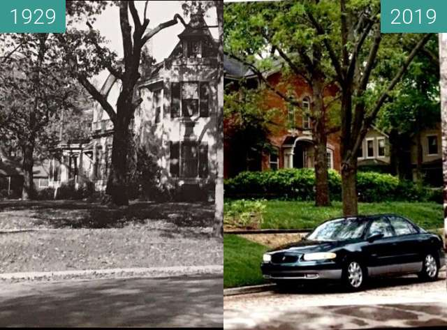Before-and-after picture of The Summerfield House between 1929 and 2019-May-06