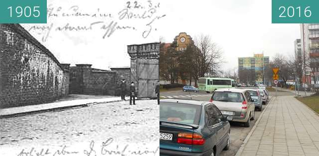 Before-and-after picture of Bahnhofsthor between 1905 and 2016