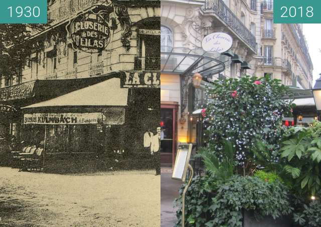 Before-and-after picture of La Closerie des Lilas between 1930 and 2018-Jan-28