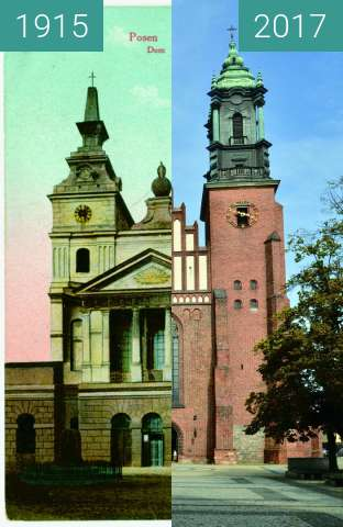 Before-and-after picture of Katedra Poznań between 1915 and 2017