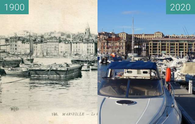 Before-and-after picture of Vieux Port between 1920 and 10/2020