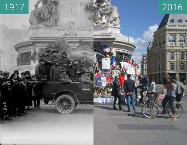 Before-and-after picture of Place de la République between 1917 and 2016-Apr-03