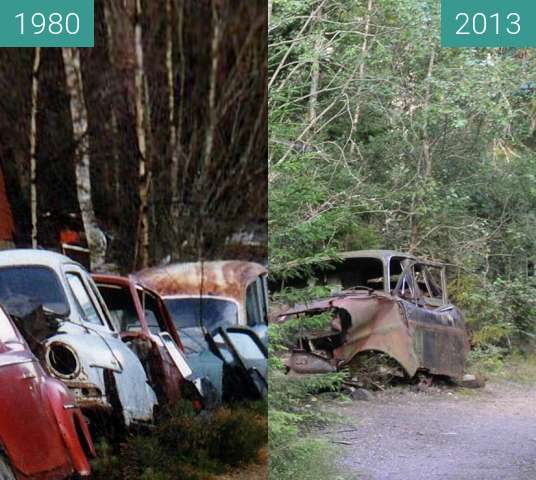 Before-and-after picture of Åke Danielssons Autowaldfriedhof Kyrkömosse between 1980 and 2013-Aug-26