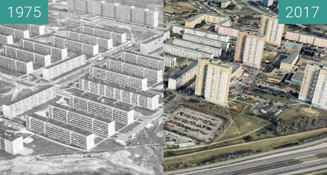 Before-and-after picture of Osiedle Armii Krajowej between 1975 and 2017