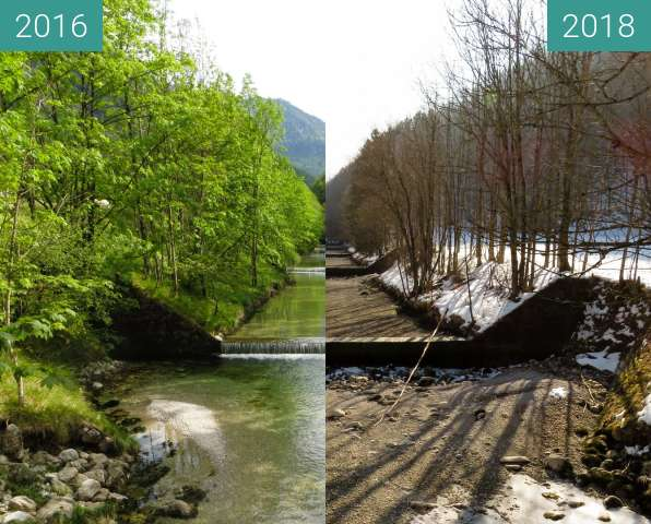 Before-and-after picture of Die Prien oberhalb von Aschau between 2016-May-27 and 2018-Mar-04