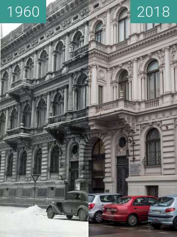 Before-and-after picture of Museum of Art in Lodz between 1960 and 2018-Feb-13
